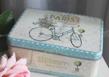 Clayre & FED, box, cajita de secretos, lata * París * azul claro-pastel, Shabby,