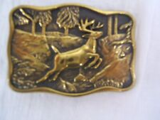 Belt Buckle Free Shipping Vgc Rectangular Shiny Brass Running Deer