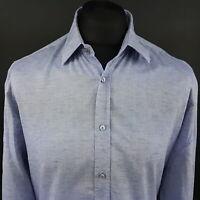 HUGO BOSS Mens Shirt MEDIUM Long Sleeve Blue Regular Fit No Pattern Cotton
