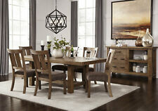 Farmhouse Cottage Rustic Brown Dining Room 7pcs Rectangular Table & Chairs IC00