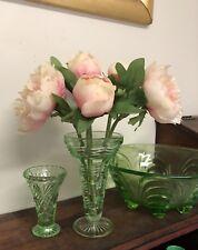 Vintage Art Deco Depression Green Glass Trumpet Vase 16cm