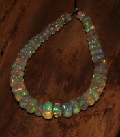 """11.40 TCW 3to5 MM 4"""" NATURAL ETHIOPIAN FIRE OPAL ROUNDEL BEADS demi strand S6334"""