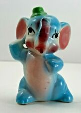 Vintage Anthropomorphic Blue Elephant w Green Hat Single Salt Shaker Made Japan