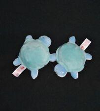 Lot 2 Peluche doudou tortue bleu blanc NUK CARE vert turquoise 13 Cm Etat NEUF