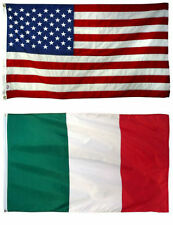 3x5 3'x5' Wholesale Combo USA American & Italy Italian 2 Flags Banner Grommets