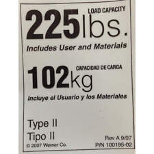 WERNER LDR225 Duty Rating Label Replacement, 225 lb.