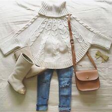 Girls Sweaters Turtleneck Cape Ponchos Baby Princess Beige Fashion Cloak Coat