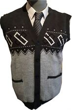 Mens Sleeveless Cardigan Button Fasten Granddad  Cardigans S M L XL 2XL