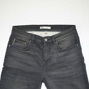 ZARA Men Jeans Straight Slim Fit Gray Premium Denim Comfort Waist 33 inch Sz31