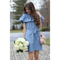 $98 J Crew Jcrew Edie Chambray Dress Ruffle Off the Shouder Size 4P Sold Out!
