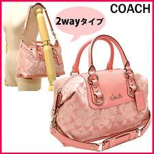 Coach ASHLEY Peony Pink Sateen Signature Satchel Purse Convertible Bag 15443
