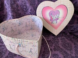 Tri Coastal Designs Large Heart Shaped French Theme Box with cord- Anne Higgins