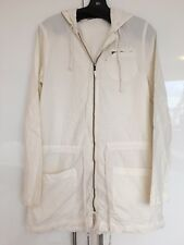 James Perse Jacket Windbreaker Off White Cotton Hood Drawstring Pockets Size 1 S