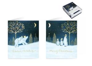 Tom Smith Box Of 20 Festive POLAR BEARS & PENGUINS Design Christmas Cards