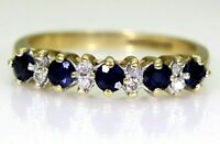 Sapphire & Diamond Half Eternity 9ct Yellow Gold ring size M ~ 6 1/4
