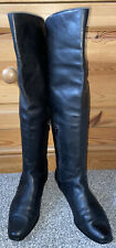 Bally Black Quality Butter Soft Leather Flat Over The Knee High Boots Uk 5/38