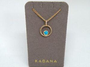 Authentic Kabana 14k Yellow Gold Turquoise Inlay Pendant plus Diamonds NEW
