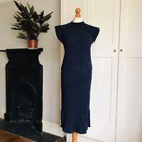 Petit Cocoon Blue Black Acrylic Blend Ribbed Knit Long Jumper Dress M 10 12