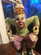 Vintage Ceramic Skier Clown On Wooden Base. Skiing Clown Perfect Condition 9 ""