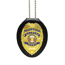 CWP Concealed Weapons Permit Clip On Belt Neck Chain Leather Badge Holder Gold