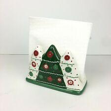 Essential Home Ceramic White Green Christmas Holiday Tree Paper Napkin Holder