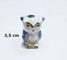 chouette dorée, miniature en porcelaine de collection, vitrine,uil ,owl  G39-22