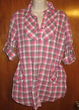 Op Jrs. Medium (7/9) BUTTON-UP SHIRT (pink plaid w/ roll-up sleeves) perfect