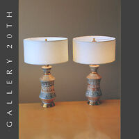 WOW! PAIR OF MID CENTURY MODERN ATOMIC TABLE LAMPS! VTG LIGHT 50S 60S GOLD RETRO