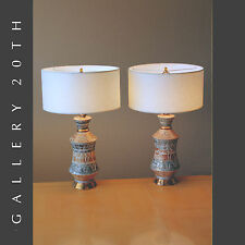 WOW! PAIR OF MID CENTURY MODERN ATOMIC TABLE LAMPS! EAMES VTG LIGHT 50S 60S GOLD