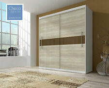 MODERN SLIDING DOOR BEDROOM WARDROBE 6 ft 8 inch(204cm) 10 SHELVES SONOMA  WHITE