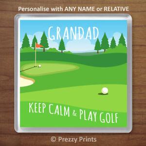 Personalised Golf Gift Drinks Coaster. Keep Calm & Play Golf Birthday Xmas Dad