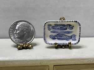 Vintage UK Artisan S MEEKINS Ceramic Fish Tray Dollhouse Miniature 1:12