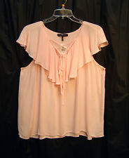 PEACH GAUZE LACE UP TIE FRONT RUFFLE FLUTTER BOHO TUNIC TOP BLOUSE~3X~4X~NEW