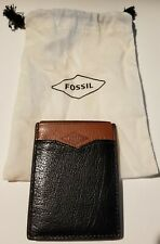 Fossil RFID Wallet W/Money Clip, Easton. Blk/Brown. Leather Brand New!