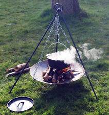 PRO- BUSHCRAFT / CAMPING - Campfire Tripod, Fire Disc & LARGE *8.5L Dutch Oven