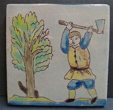 Spanish Pottery & Tile Co Man Chopping Tree Antique