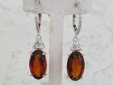 Exquisite 14k.Yellow / White Gold Mandarin Garnet & Diamond Dangle Earrings, New