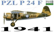 PZL P.24 F - WW II FIGHTER (GREEK AF 1941 MARKINGS) 1/72 ACCURA RESIN