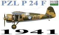 PZL P 24 F (griego af 1941 marcas) 1/72 Accura Resina