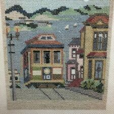 Vintage 1982 Completed Counted Cross Stitch City Stitches San Francisco Framed