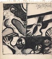 Oeuvre originale dessin encré John Christoforou Karel Appel Francis Bacon signé