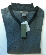 NWT Cremieux Signature LS Wool Cashmere V Neck Gray Mens Sweater XL Retail $195