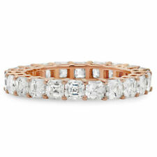 18K Rose Gold Asscher Cut Diamond Eternity Ring Engagement Anniversary Wedding