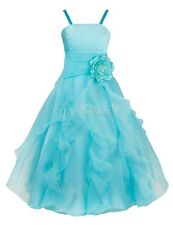 Blue Flower Girl Birthday Wedding Bridesmaid Pageant Prom Formal Party Dress 10T