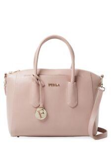 NWT Furla Tessa Small Saffiano Leather Satchel  Bag  Moonstone-Pink 892438