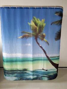 Shower Curtain Sea Sky Coco Palm Design Waterproof Fabric 72 inch 12 Hooks