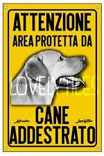 LABRADOR AREA PROTETTA TARGA ATTENTI AL CANE CARTELLO PVC GIALLO