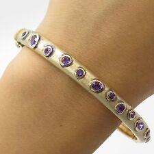 925 Sterling Silver Gold Tone Amethyst Modernist Bangle Bracelet