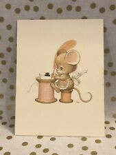 Vintage Ruth Morehead Greeting Note Card Thumble Mouse Thread Unused + Envelope