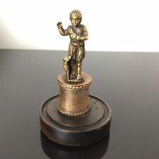 Petite Sculpture Ancienne Bronze XIXè Jeune Pasteur sur Socle Victorian 19thC